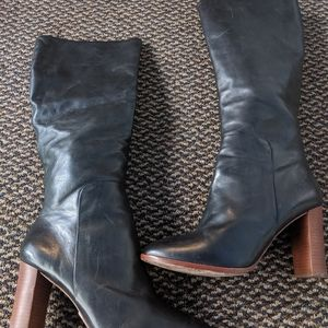 Pour La Victoire Black Heeled Leather Boots 10M